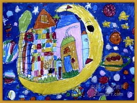 关于月亮的儿童画图片展示下载; 儿童画汽车简笔画; 月亮上的城堡简笔