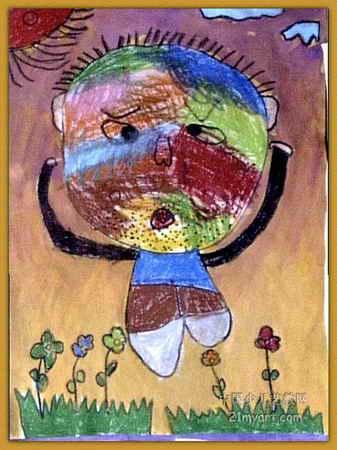 爱做鬼脸的爸爸儿童画,此幅水粉画大小为450x337像素,作者吕泽政,来自河南省实验幼儿园,男,5岁.