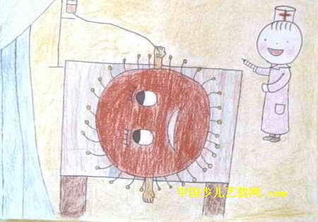 给太阳公公治病儿童画