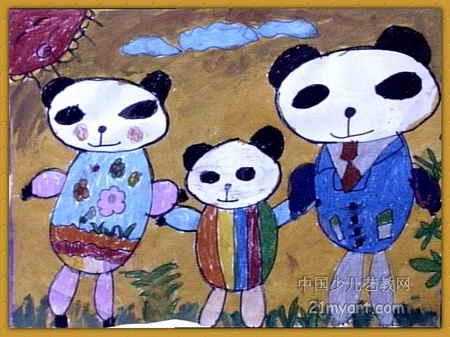 全家去郊游儿童画