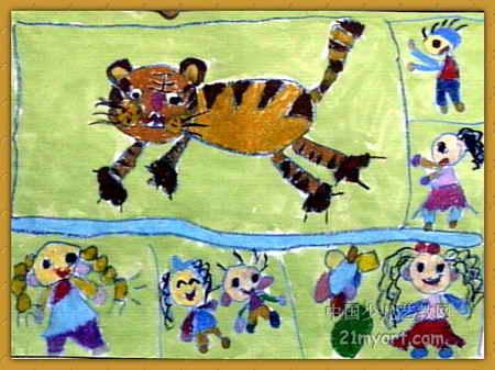 动物园里的大老虎儿童画