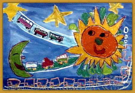 太空立交桥儿童画图片