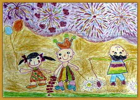 节日夜晚儿童画,此幅油画棒画大小为322x450像素