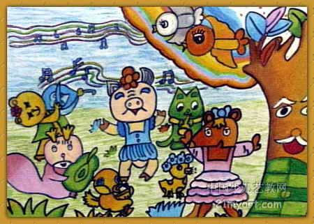 森林音乐会儿童画6幅(第2张)图片