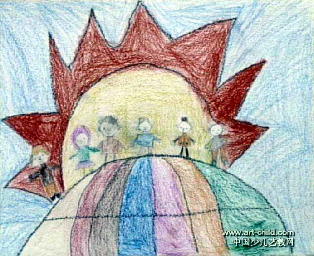 我爱和平儿童画2幅