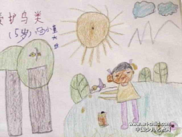 爱护鸟类儿童画,此幅油画棒画大小为483x640像素,作者冯小童,来自鹤壁