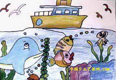 美丽的大海儿童画6幅(第4张)图片