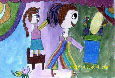 我帮妈妈梳梳头儿童画2幅