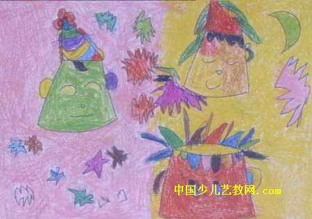 可爱的小丑娃娃儿童画属于油画棒画,长316px,宽450px,作者吴蕴,来自