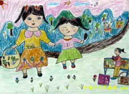 跳远 儿童画展示图片