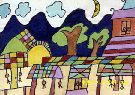 儿童画/我的故乡油画棒儿童画属于水彩画,长319px,宽450px,作者和...
