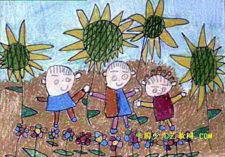 我和花儿一起长油画棒儿童画