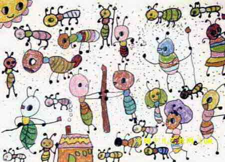 儿童画 卫俊杰/蚂蚁大战儿童画,这幅油画棒画作品长324px,宽450px,作者卫...