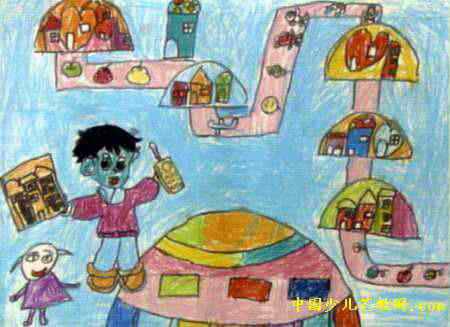 太空里建房子儿童画