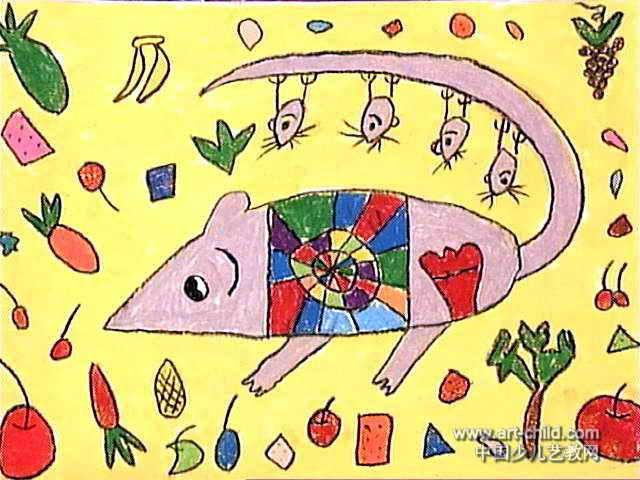 老鼠的一家儿童画2幅