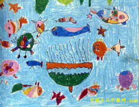 海底世界儿童画属于油画棒画,长346px,宽450px,作者郭梦婷,女,5岁