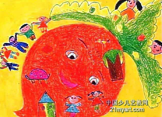 好大的萝卜儿童画作品欣赏