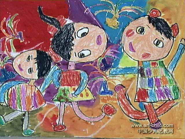 踢毽子儿童画3幅