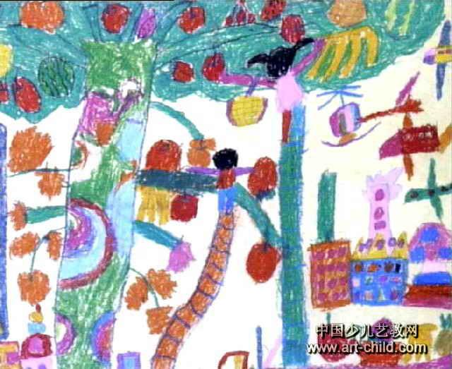我到天上摘水果儿童画图片