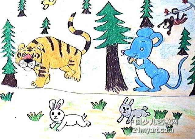 动物森林简笔画-森林里动物多儿童画作品欣赏