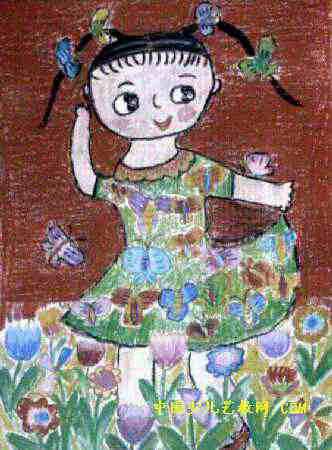 蝴蝶作我的花衣裳儿童画