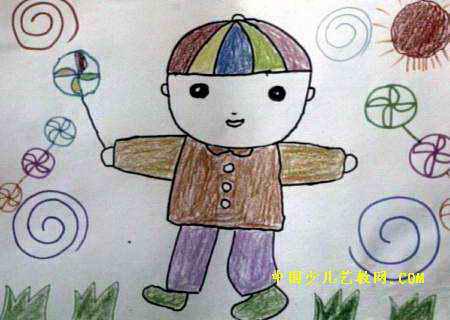 小风车儿童画图片