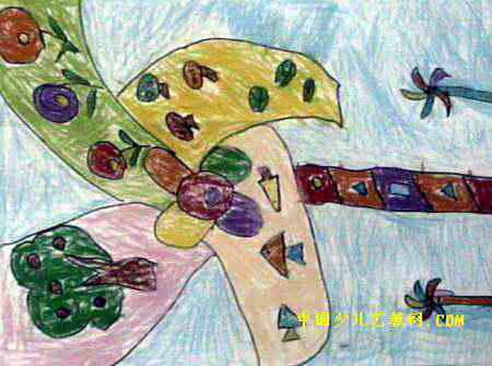 大风车儿童画3幅(第2张)图片