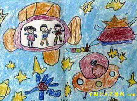 神秘的太空儿童画2幅