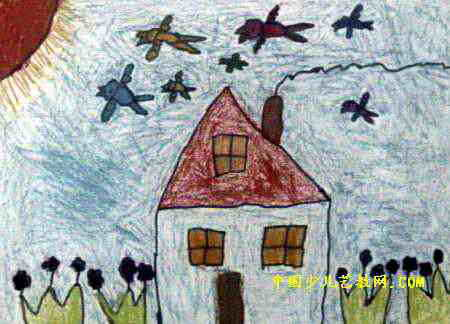 可爱的小屋儿童画3幅