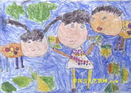 银杏树树叶的图片-捡树叶儿童画