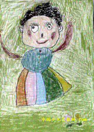 妈妈的花裙子儿童画2幅