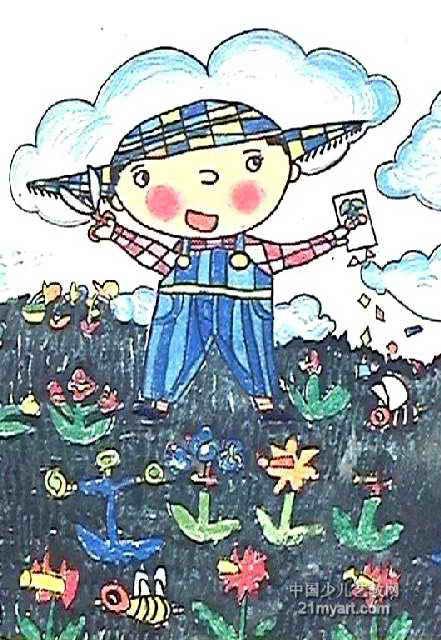 剪裁美丽的世界儿童画