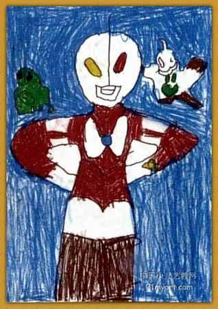 奥特曼大战怪兽儿童画3幅