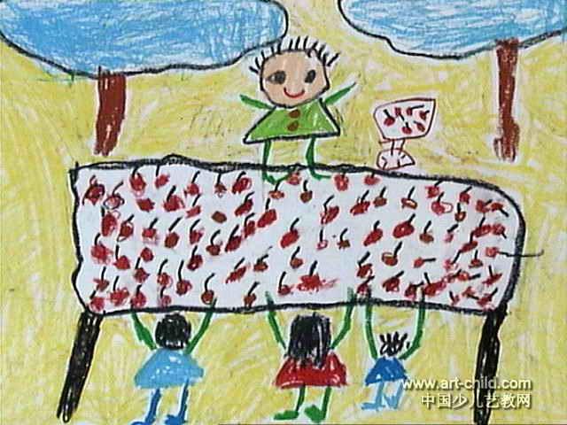 牵牛花儿童画 买荔枝儿童画图片