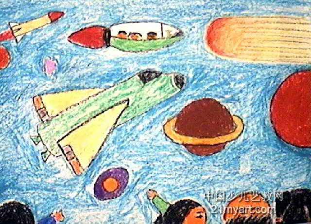 神奇的宇宙儿童画2幅图片