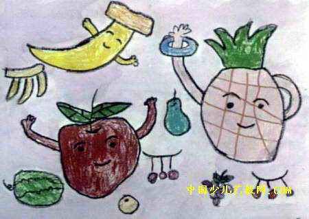 水果娃娃儿童画,此幅油画棒画尺寸为319x450像素,作者赵浩胜,男,3岁