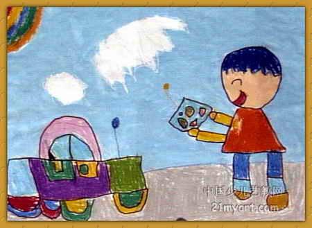 遥控汽车儿童画属于油画棒画