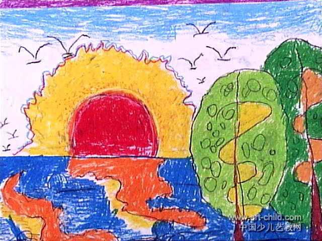 日出儿童画2幅