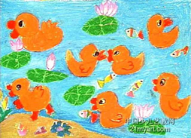 快乐的小鸭子儿童画4幅(第3张)