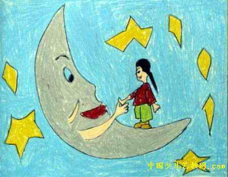 简笔画 儿童画 儿童油画棒画 >> 我和月亮握握手儿童画2幅