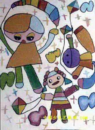 我和风筝飞上天儿童画