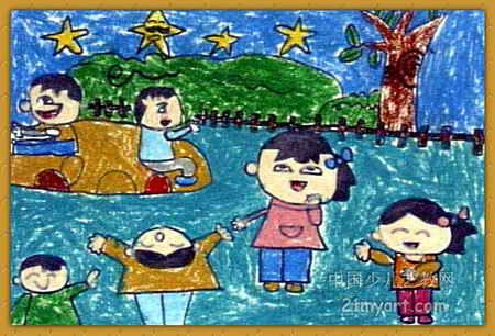 儿童画 桂羲/夏日的夜晚儿童画,此幅油画棒画尺寸为306x450像素,作者桂羲...
