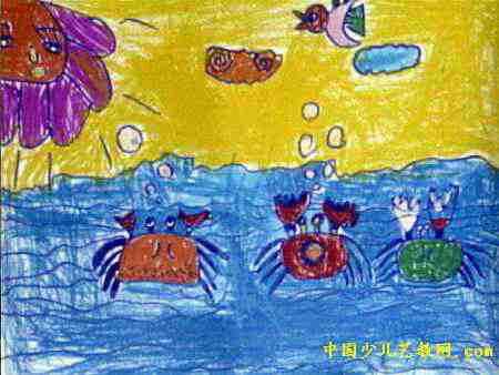 海底世界儿童画属于油画棒画,长338px,宽450px,作者陈亚楠,女,5岁
