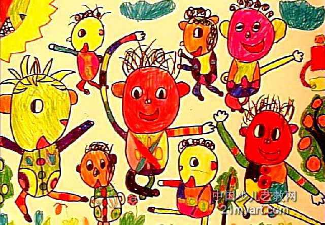 武术表演儿童画2幅