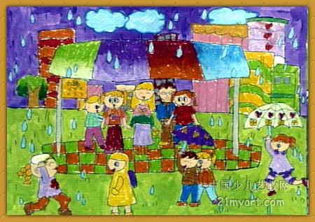 下雨油画棒儿童画