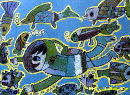 海底世界儿童画属于油画棒画,长330px,宽450px,作者王睿,女,7岁,就读