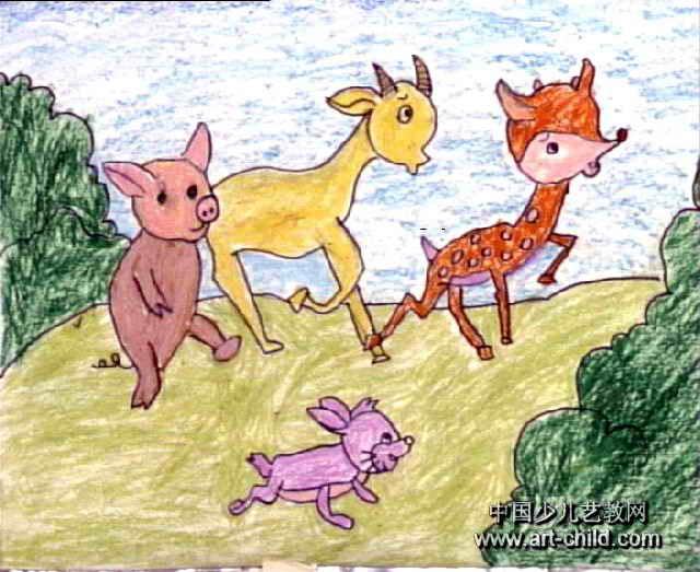 小动物赛跑儿童画图片