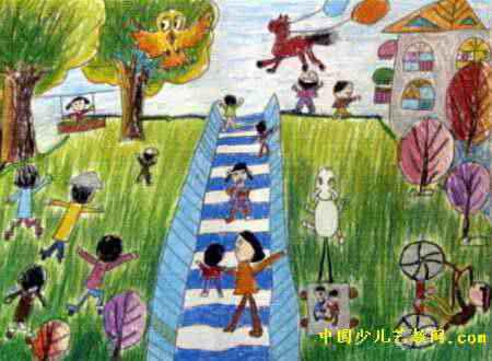 山顶公园真漂亮儿童画
