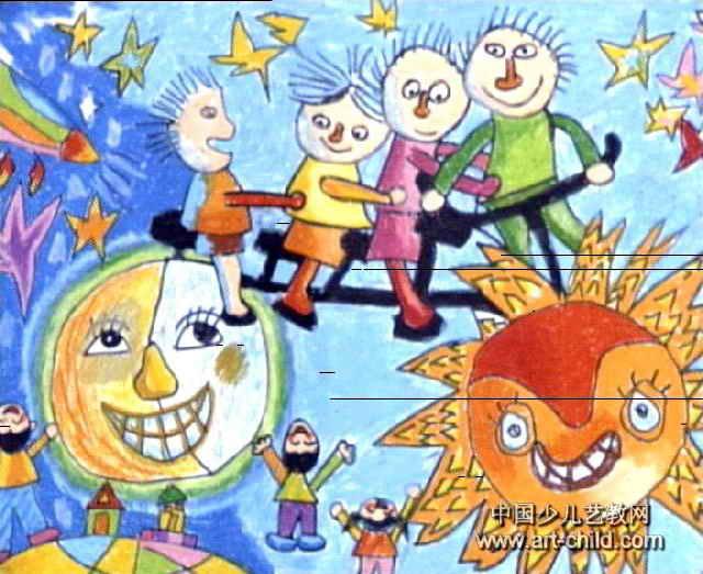 游太空儿童画13幅 第2张图片
