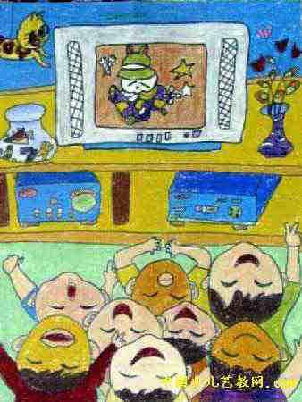 乡村人多的简笔画-儿童村里娃娃多儿童画,此幅油画棒画大小为450x338像素,作者李恩